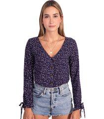 blusa manga larga con botones de pasta flashy