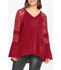 plus size lace panel raglan sleeve knit top