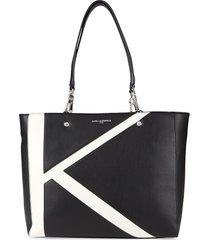 karl lagerfeld paris women's adele top-zip tote - black white