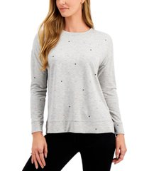 style & co heart-print sweatshirt, created for macy's
