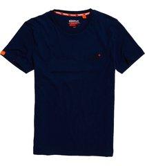 superdry t-shirt m1010024a crew neck tee y4p navy blue feeder - blauw