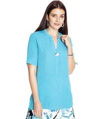 blusa manga codo liso turquesa lorenzo di pontti