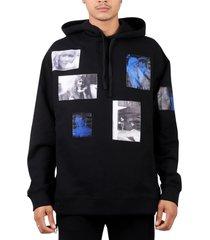 raf simons black blue velvet hoodie