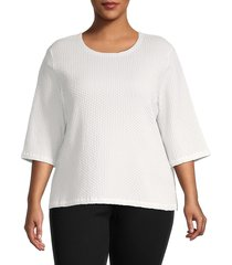 eileen fisher women's honeycomb knit top - ivory - size 2x (18-20)
