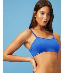 amaro feminino biquini top minimal, azul medio