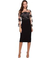 korte jurk makover k013 kokerjurk met guipure top - zwart