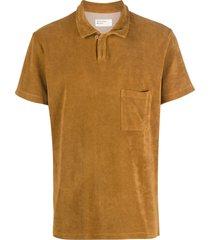universal works vacation fleece polo shirt - brown