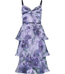 floral tier tea length dress
