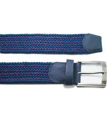 cinturón trenzado tela azul vena roja