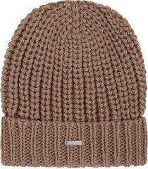 les hommes brown hat for boy with logo patch