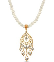2028 gold tone crystal filigree drop imitation pearl necklace