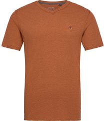 jprbluwilhelm tee ss v-neck t-shirts short-sleeved brun jack & j s