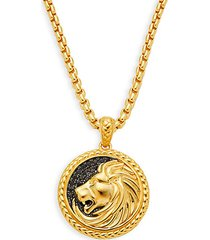 goldplated sterling silver & black sapphire embossed lion pendant necklace