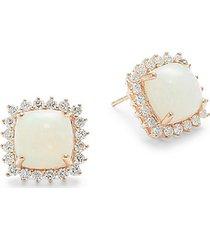 14k rose gold, opal & diamond cushion-cut earrings