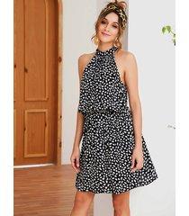 black random heart printed halter knotted sleeveless dress