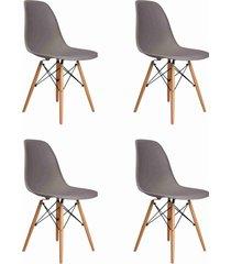 conjunto 04 cadeiras eif.s/branco pp cinza base madeira rivatti - cinza - dafiti