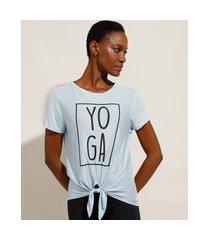 """camiseta de viscose esportiva ace yoga"""" com nó manga curta decote redondo azul claro"""""""