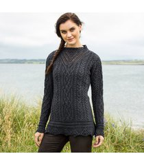 the lismore charcoal aran tunic large