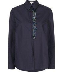 delpozo paillette-embellished poplin shirt - blue