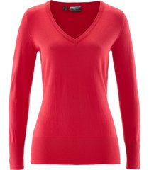 maglione in filato fine con scollo a v (rosso) - bpc bonprix collection
