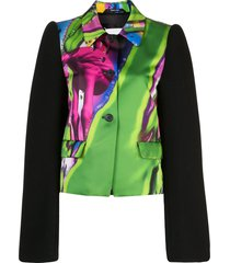 maison margiela printed relaxed fit blazer - green
