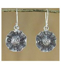 silver dangle earrings, 'flower of thailand' (thailand)