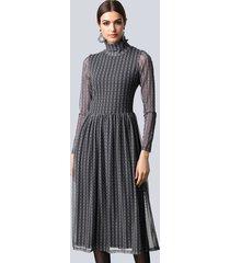jurk alba moda zwart::taupe