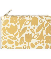 golden floral pencil pouch