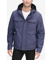 levi's men's soft shell hooded trucker jacket with sherpa fleece lining