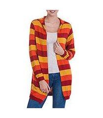 alpaca blend hoodie sweater, 'winter cheer' (peru)