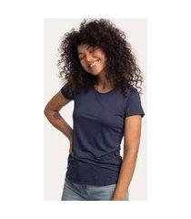camiseta decote redondo em modal marinho