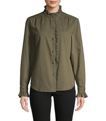 frame denim women's mockneck cotton-blend top - army green - size s