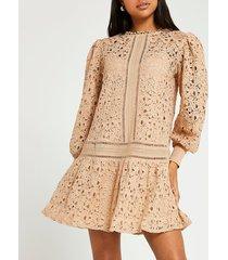 river island womens beige lace mini dress