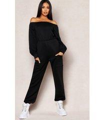 off shoulder pocket detail lounge jumpsuit, black