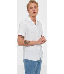 solid brando poplin ss shirt skjortor white