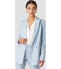 na-kd classic tailored double breasted blazer - blue