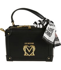 love moschino two-way top zip scarf trimmed tote
