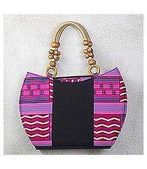 cotton handle handbag, 'neon kente color' (ghana)