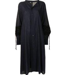 y's loose shirt dress with decorative string appliqué - blue
