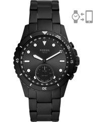 fossil men's fb-01 black stainless steel bracelet hybrid smart watch 42mm