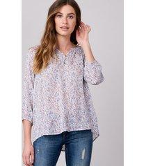 zijden blouse met mille-fleur-print