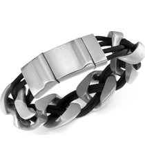 men's linked bracelet in leather and stainless steel