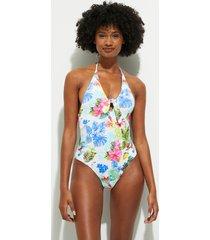 tropical straps swimsuit - white - xl