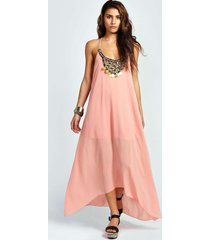 beaded necklace dip hem maxi dress, nude
