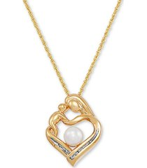 """cultured freshwater pearl (5mm) & diamond (1/20 ct. t.w.) mother & child 18"""" pendant necklace in 14k gold-plated sterling silver"""