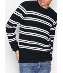 selected homme shhlamar stripe crew neck tröjor mörk blå