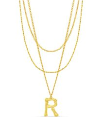 "catherine malandrino women's gold-tone triple layered ""r"" initial necklace"