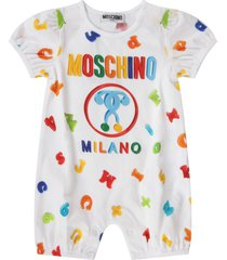 moschino white rompers for babykid with colorful logo