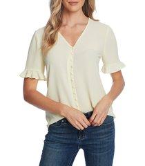 women's cece ruffle sleeve crepe blouse, size x-large - yellow