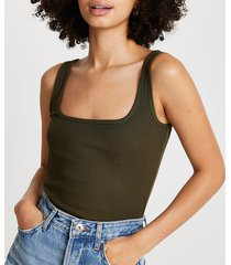 river island womens khaki square neck fitted tank top